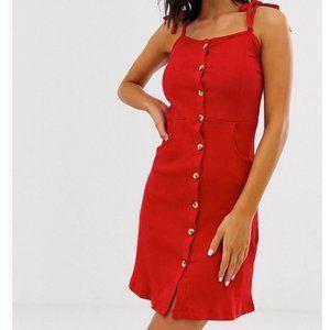 Dresses & Skirts - Red Button Down Mini Dress